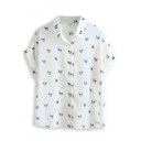 Little Dog Print Short Sleeve Chiffon Shirt