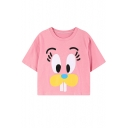 Rabbit Face Print Cotton Cropped T-Shirt