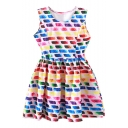 Ombre Multi Color Square Tanks A-line Dress