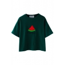 Watermelon Pattern Round Neck Short Sleeve T-Shirt