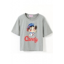 Gray Short Sleeve Schoolgirl with Candy Crop T-Shirt