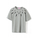 Gray Short Sleeve Black Flash Print T-Shirt