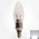 Silver 360° Cool White E14 LED Candle Bulb 3W