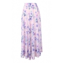 Pink Background Bohemia Flower Print Maxi Chiffon Skirt