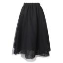 Black Geometry Cutout A-line Mesh Cover Skirt
