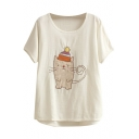 Cute Mouse Embroidered White T-Shirt
