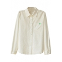 Four Leafed Clover Embroidered White Shirt
