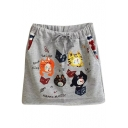 Gray Cartoon Singing Kitten Embroidered Short Skirt