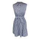 Vertical Blue Stripe Sleeveless Shirt Dress with Belt