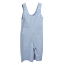 Sky Blue Simple Double Pockets Front Sleeveless Rompers
