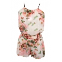 White Background Rose Butterfly Chiffon Camis with Shorts Co-ordinate