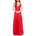 Spaghetti V-Neck Backless Draped Floor Length Dress
