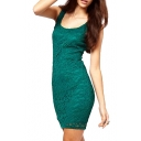 U-Back Plain Tank Slim Lace Dress