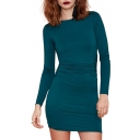 Blue Green Long Sleeve Sheath Concise Mini Dress