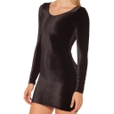 Black Velvet Long Sleeve Round Neck Bodycon Dress