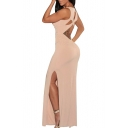 V-Neck Sleeveless Cutout Crossback Maxi Dress with Side Split