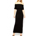 Elegant Off-The-Shoulder Ruffled Fitted Maxi Dress with Back Split
