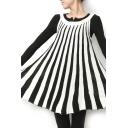 Round Neck Sleeveless Swing Stripe Print Dress