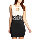 Sleeveless Cutout Front Round Neck Dress with Lace Waist