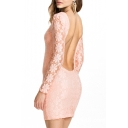 Pink Lace Crochet Long Sleeve Open Back Mini Dress