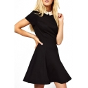 Color Block Ruffle Hem Fitted Dress with Peter Pan Collar