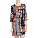 Tie Waist Gorgeous Tribal Style Pattern Print 1/2 Sleeve Column Dress
