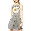 Single Daisy Print Front Sleeveless A-line Dress