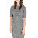Houndstooth Short Sleeve Round Neck Midi Dress