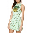 Green Pineapple Print High Neck Sleeveless Dress
