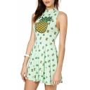 Green Pineapple Print High Neck Sleeveless Dress