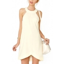 Beige Round Neck Sleeveless Twisted Back Dress