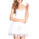 Star Embellish White Modal&Mesh Panel Mini A-line Slip Dress