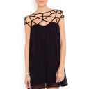 Black Gridding Cutout Chiffon Dress