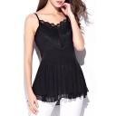 Black Lace Insert Double Layer Ruffle Hem Camis