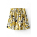 Yellow Background Blue Flora Print Pleated Skater Skirt