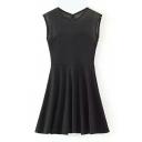 Black Sleeveless Mesh Panel A-line Skater Dress