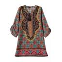 Round Neck 3/4 Sleeve Ethnic Totem Pattern Print Shift Dress
