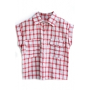 Red Plaid Short Sleeve Pocket Shirt