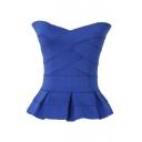 Blue Strapless Cross Bandage Style Ruffle Hem Blouse
