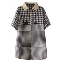 Dark Blue Short Sleeve Gingham Kitty Applique Lace Lapel Shirt
