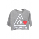 Gray 3CE Heart Print Crop T-Shirt