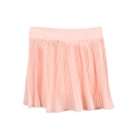 Pearl Pink Fresh Style Pleated High Waist Skirt