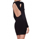 Black Backless Long Sleeve Dress with Cutout Detail
