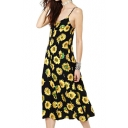 Sun Flower Print Slip Dress in Tea Length
