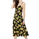Sun Flower Print Slip Dress in Tea Length