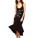 Double Straps Slogan Print Black Loose Dress