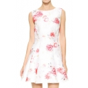 White Background Pink Dreamy Flower Print Sleeveless A-line Dress