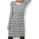 Plain Gray Round Neck Long Sleeve Dress with Ruffle Details