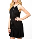 Plain Black Gathered Waist Sleeveless Belted Dress