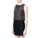 White Polka Dot Print Black Chiffon Panel Style Sleeveless Slim Dress